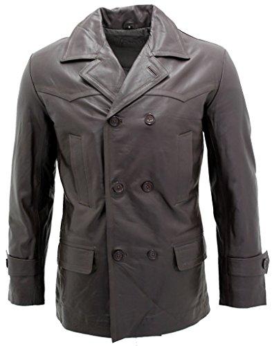Men's Brown German Naval Dr Who Cow Hide Leather Pea Coat S