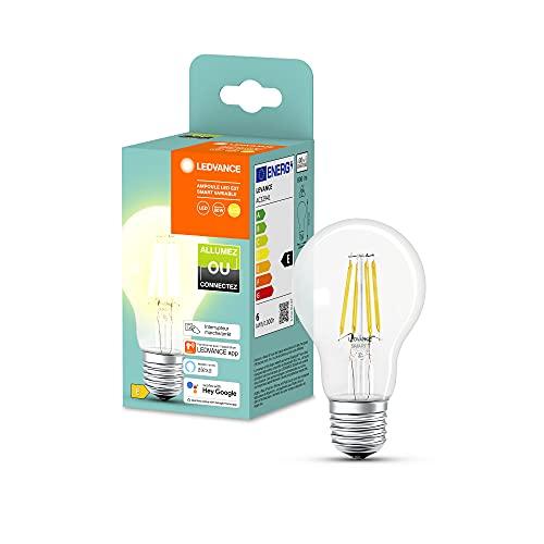 LEDVANCE VolksLicht, Lampe LED avec Bluetooth Mesh, également contrôlable avec Alexa et Google, remplace les lampes conventionnelles de 60W, blanc chaud (2700K), gradable intelligemment, 1-pack