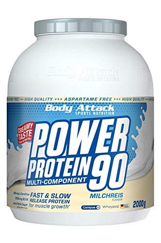 Body Attack Power Protein 90, Milchreis, 2 kg, 5K Eiweißpulver mit Whey-Protein, L-Carnitin und BCAA für Muskelaufbau und Fitness, Made in Germany