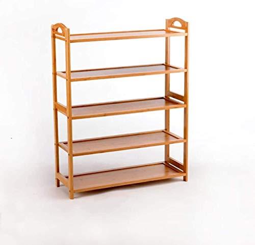 WLGQ Gabinete para Zapatos a Prueba de Polvo Zapatero de bambú de 5 Niveles, Estante Simple de múltiples Capas, Moderno, extraíble, gabinete para Zapatos para el Polvo ensamblado en el hogar 67.5