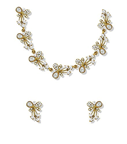 Zaveri Pearls Fascinating Gold Tone Necklace Set adorned with Austrian Diamond & Pearls For Women - ZPFK5216