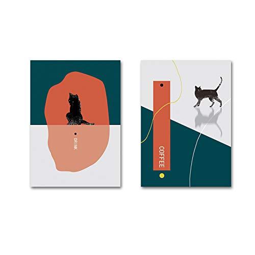 SDFSD Moderne abstrakte Katze Trinken Kaffee Leinwand Gemälde Wandkunst Poster und Drucke Bilder POP für Wohnzimmer Home Decoration 55x100cm