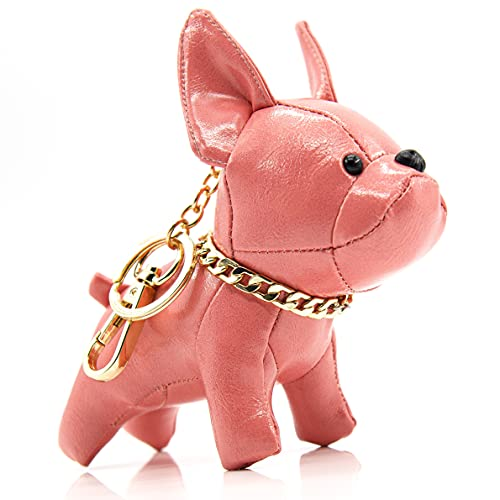 French Bulldog Leather Keychain Bag Charm,SALTY FISH Car Key Chain Gift for Women Kids (Cute Pink)