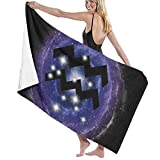 Olie Cam Acuario Constelación del Zodíaco en Nebulosa Azul Toallas de baño Toalla de Ducha de Moda Toalla de Playa con Personalidad Toalla de natación Secado Suave y rápido