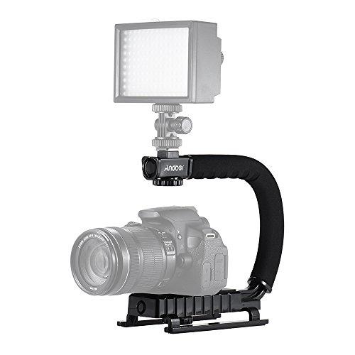 Andoer forma u supporto maniglia a forma di C Video titolare palmare Action stabilizzatore Grip per Canon Nikon Sony GoPro SJCAM Fotocamera Videocamera DV DSLR Smartphone e flash di luce del monitor