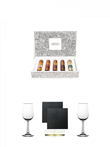 Tastillery Whisky Tasting Probierset Whisky Weltreise in Geschenkbox 5 x 50ml + Gläsergeschenkset