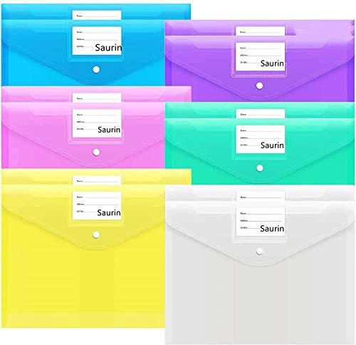 Carpetas Multicolor A4 ,12 PCS Transparente Carpetas de Archivos de Plástico A4 Carpetas de Documentos Bolsas de Archivos para la Escuela la Oficina el Hogar con Botón a Presión