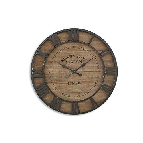 Loberon Uhr Raffray, MDF, Eisen, H/Ø ca. 8/92 cm, braun/schwarz