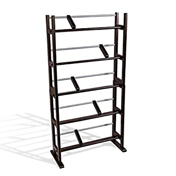 Atlantic Element Media Storage Rack - Holds Up to 230 CDs or 150 DVDs Contemporary Wood & Metal Design with Wide Feet for Greater Stability PN35535601 In Espresso