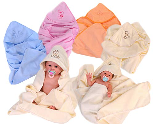 BADETUCH Baby Badedecke Kapuzentuch große Kapuzendecke Kinder Tuch Decke 95 x 90 (blau)