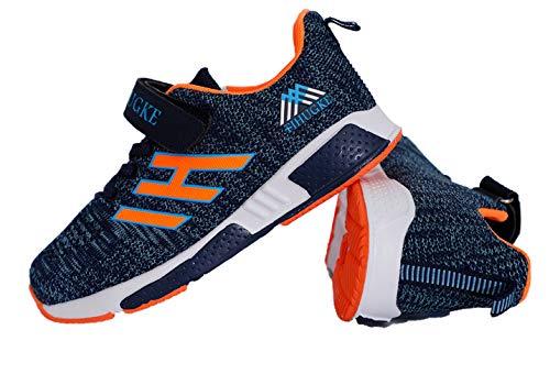 Powtech Hallenschuhe Kinder Turnschuhe Jungen Sport Schuhe Mädchen Kinderschuhe Sneaker Outdoor Laufschuhe für Unisex-Kinder (861-BlueOrange,CN28),27 EU