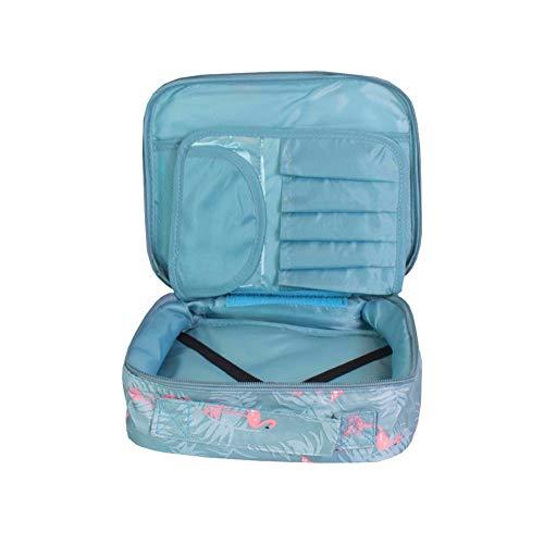 1pc Sacs portables cosmétiques Voyage stockage Organisateur maquillage Sac pour voyager et à la maison des oiseaux modèle bleu