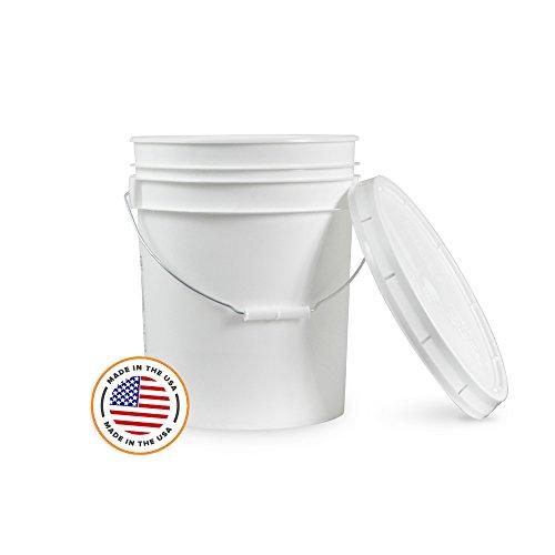 5 Gallon White Bucket & Lid - Durable 90 Mil All Purpose Pail - Food Grade - BPA Free Plastic (5 Gal. w/Lids - 6pk)
