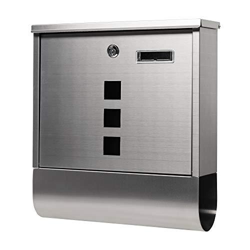 SPRINGOS Briefkasten mit 3 Fenster und Namensschild Wandbriefkasten Edelstahlbriefkasten Postkasten 33,5 x 30,5 x 9,5 cm Stahl gebürstet (Metallic - Design 4)