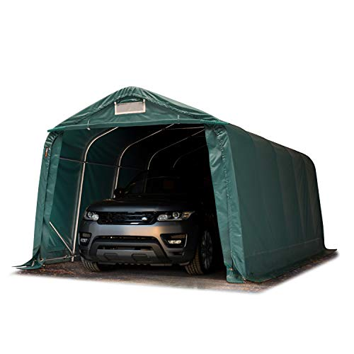 TOOLPORT Garagenzelt Carport 3,3 x 6,0 m in dunkelgrün Weidezelt Unterstand Lagerzelt ca. 550 g/m² PVC Plane und Stabiler Stahlrohrkonstruktion