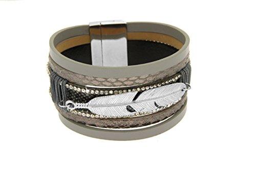 Kettenworld graues Lederarmband 5-rhg, zum Teil Schlangenlederoptik mit weißen Steinen & Feder-Anhänger