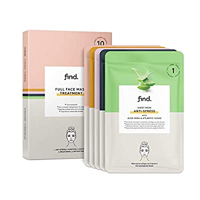 FIND - Full Sheet Mask Face treatment - 10 Pack (Antistress, purifying, soothing, brightening, detox)