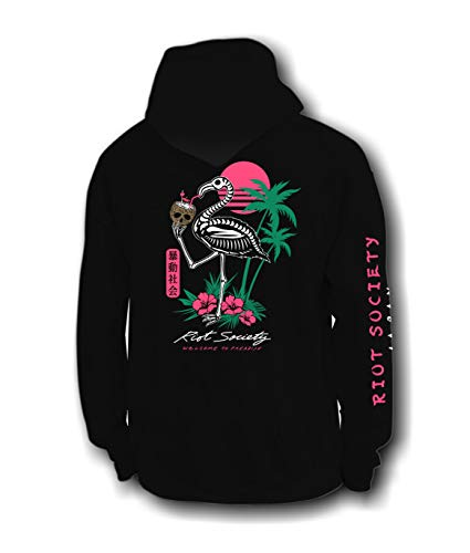 Riot Society Tropical Skeleton Flamingo Mens Hoodie - Black, Large
