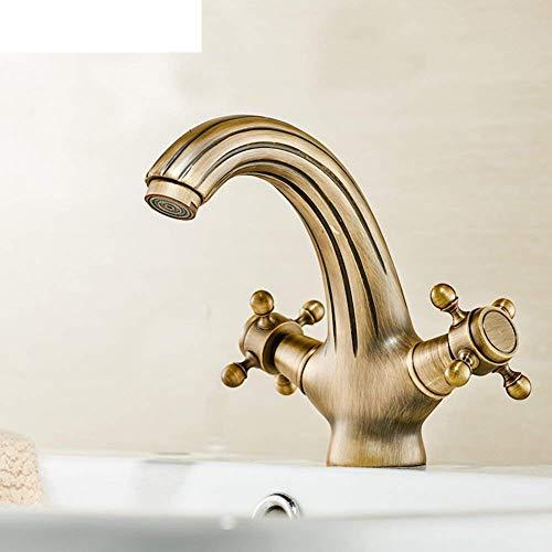 ShiSyan Faucet Cuenca de Cobre Antiguo Europeo Completo Faucet Faucet Etapa/grife Tanto Caliente como fría/Antigua Faucet Doble Open-A (Color: -, Tamaño: -) Cocina