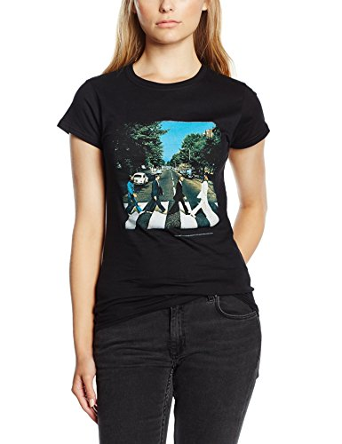 The Beatles Abbey Road Women's Short Sleeve Shirt Gr. 38, Schwarz - Schwarz