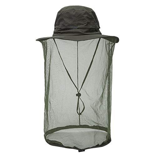 MMOOVV Hut Unisex Outdoor Moskitonetz Visier Visier mit unsichtbaren Mesh-Hut Outdoor Reiten Camping Cap (Armeegrün)