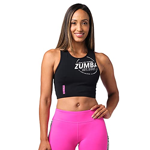 Zumba Fitness® Zumba Activewear Sexy Tops Women Fitness Workout Graphic Print Cropped Tank Top Camiseta, Blackout Moves, Small para Mujer