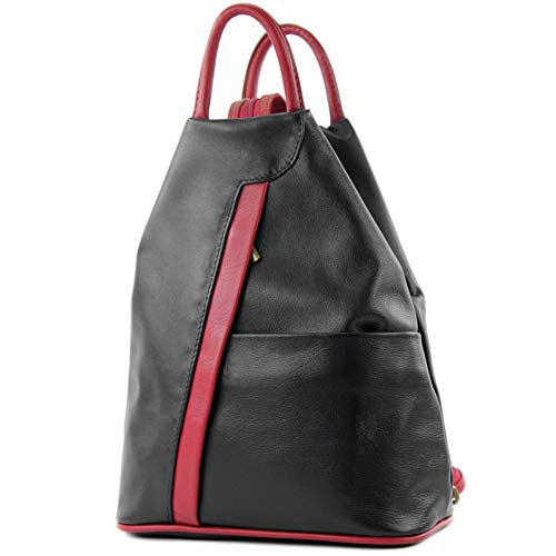 modamoda de - T180 - ital Damen Rucksack Tasche Nappaleder, Farbe:Schwarz/Dunkelrot