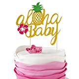 Pineapple Cake Toppers Luau Party Decorations Supplies Aloha Baby Shower Birthday Glitter Hawaiian Tropical Beach Pool Favor