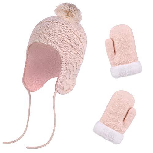 QKURT Conjunto de Mitones de Gorro para Mujeres,Sombreros para niños Guantes para niños aptos para edades de 1~3 años Niñas Bebé