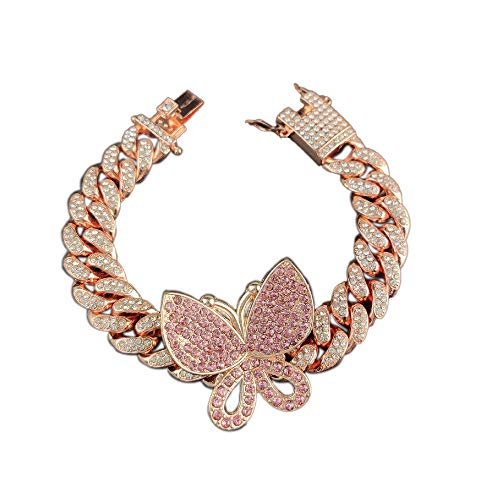 Butterfly Cuban Chain Link Multi CZ Rhinestone Exaggerated Iced Out Bling Pendant Bracelet Arm for Women Girl Jewelry Hip Hop Punk Rock Gold Silver Crystal Luxury-Rose Gold