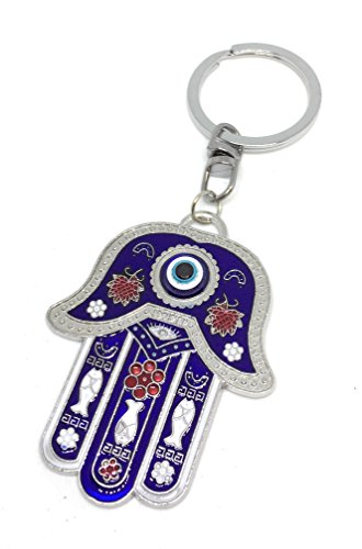 La mano de Fátima ojo de llavero Metal Vintage azul...