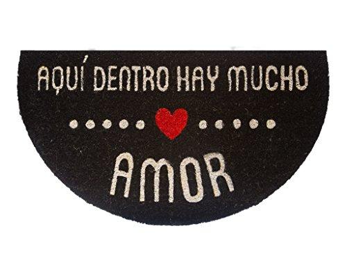 Fisura Felpudo semicircular HR Amor, Color Blanco con Fondo Negro, 40 x 70 cm