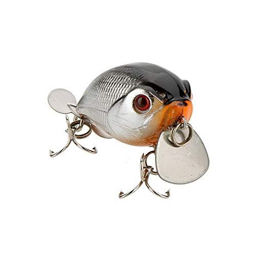 NO LOGO ZZB-Lure, 14g 5cm señuelo señuelo de Pesca Poco Gordo Disco gordito con Triple Anzuelo Buceo 1m (Oro + Gris)