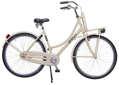 Amigo Forest - Bicicleta de Ciudad de 28 Pulgadas para Mujeres - con V-Brake, Freno de Retroceso, portaequipajes Delantero, iluminación y estándar - Beige