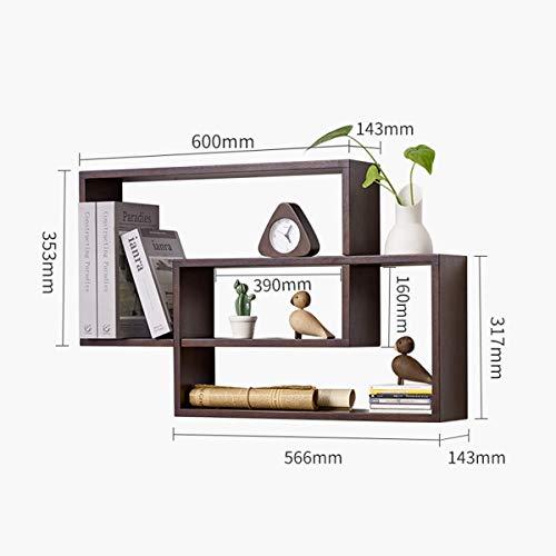 Muur Plank Hout Boekenplank Wijnrek Eiken CD-rek Home Witte Muur Decoratief Hangend Opslagvertoning Beugel (Color : Walnut)
