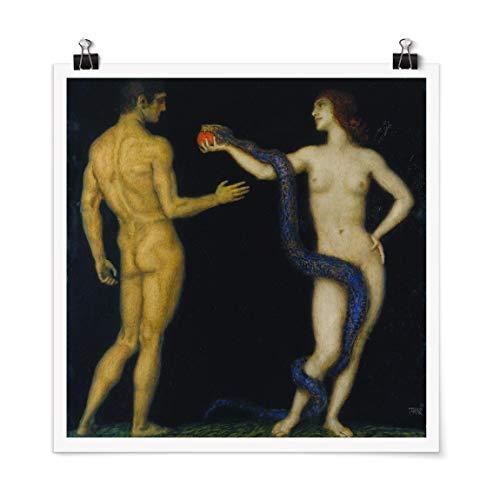 Bilderwelten Poster - Franz Von Stuck - Adam and Eve Carré Fini satiné Autocollant 70 x 70cm