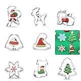 Guizu Moldes para Galletas Navidad, Navidad Cortadores de Galletas Moldes para Galletas Moldes Galletas 3D, Juego de Cortadores Galletas De Navidad para Decoración de Cookie Navidad (8 Pack)