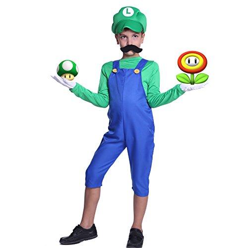 SurePromise One Stop Solution for Sourcing Super Luigi Mario Gr.L Klempner Kostuem mit Muetze Set Karneval Fasching Kostuem Kinderkostuem Fuer Jungen Maedchen