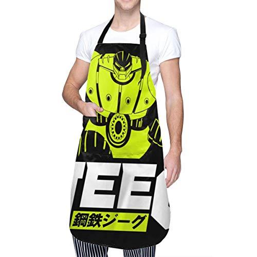 Anime & Classic Mecha Anime Koutetsu Steel Jeeg Robot Delantal de Cocina con Bolsillo para Hombres y Mujeres