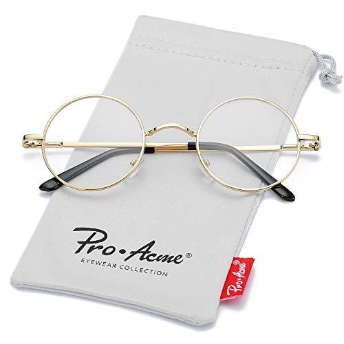 Pro Acme Non Prescription Clear Lens Glasses Retro Small Round Metal Frame (Gold)
