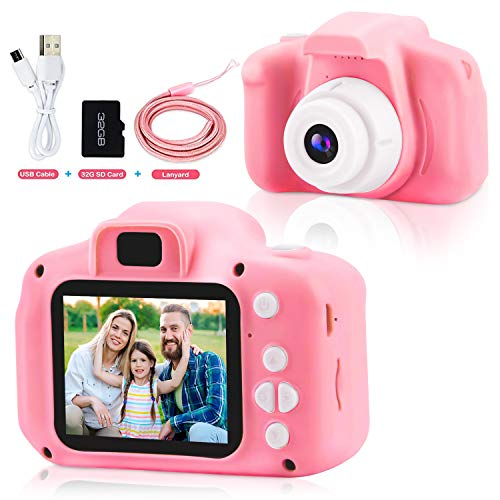 Ynybusi Kids Camera for 4 5 6 7 8-12 Year Old Girls Boys Birthday, HD 1080p Video Digital Cameras Toy for Toddler Gifts for Kids Toddlers with 32GB SD Card-Pink…