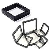10pcs pe film jewelry storage box transparent jewelry storage rack,3d floating display frame large,pe film suspension jewelry display box (black)