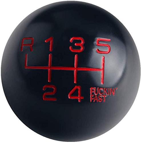DEWHEL Black/Red Aluminum Fing Fast Shift Knob 6 Speed Short Throw Shifter M10X1.5 M12X1.25 M10X1.25 M8X1.25 Adapter Thread (Reverse on Top Left)