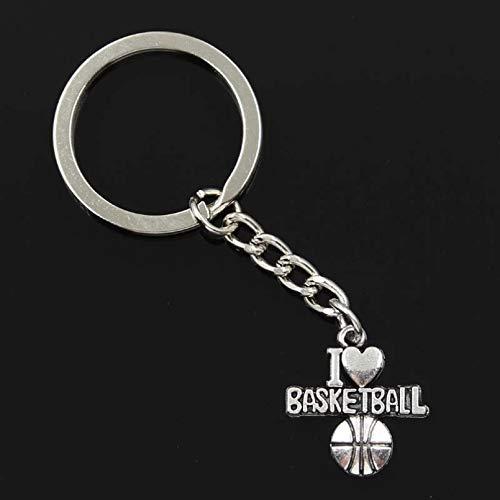 PEIPONG Fashion Men 30Mm Keychain Diy Metal Holder Chain I Love Basketball 21X20Mm Silver Color Pendant Gift