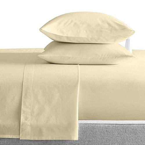 Kamas Elfenbeinfarbenes Queen-Bettwäsche-Set, ägyptische Baumwolle, Fadenzahl 1000, ägyptische Baumwolle, Satingewebe für ein weiches & angenehmes Gefühl, passend für Matratzen bis zu 40,6 cm Tiefe