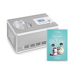 IJsmachine & yoghurtmaker Elisa 2.0 L met zelfkoelende compressor 180 W, gemaakt van roestvrij staal met koel- en verwarmingsfunctie, incl. receptenboekje*