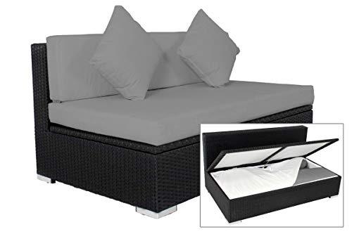 OUTFLEXX 2-Sitzer Mittelelement aus hochwertigem Poly-Rattan in schwarz mit Kissenboxfunktion inkl. Polster, 140 x 85 x 70 cm, Garten Lounge Sofa für 2 Personen, wetterfest, rostfrei