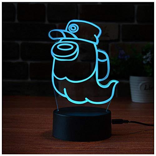 3D Illusion LED Night Light, 3 Colour Among Us Table Lamp Sensor Lights for Baby, Kids, Children's Room, Hallway, Gifts Bedroom Decoration-4_De un solo color