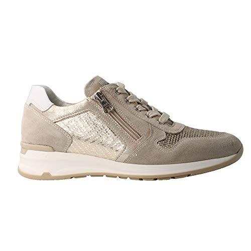 Nero giardini sneaker donna in pelle laminata e pailettes p907530d - 40 - ivory