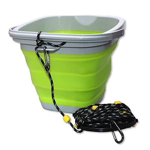 釣り用 フィッシング 折り畳み水くみバケツ 8mロープ・カラビナ付き (グリーン)